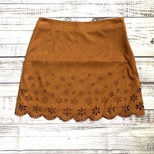 F21 Bronze Suede Mini Skirt